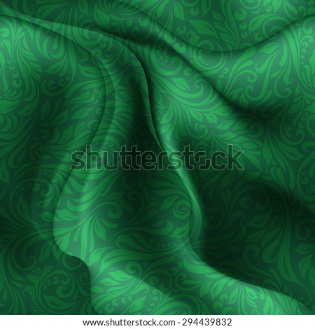 Raster version. Seamless patterned green fabric with a floral pattern in the form of vines  - stock photo