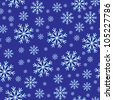 Raster version. Seamless texture of snowflakes. Illustration for design on blue background - stock photo