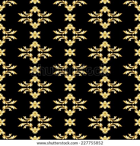 Raster version. Seamless vertical gold floral pattern on black background  - stock photo