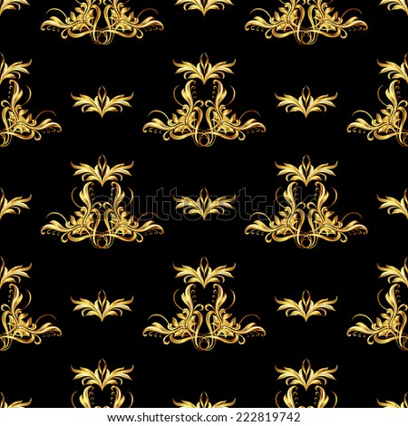 Raster version. Seamless wallpaper with golden pattern. Ornate different sizes  - stock photo