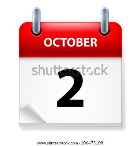 Raster version. Second  October in Calendar icon on white background