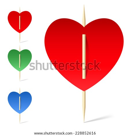 Raster version. Set colorful papers hearts on toothpicks. Illustration on white background  - stock photo