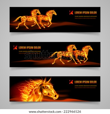 Raster version. Set of banners with horses in orange flame  - stock photo