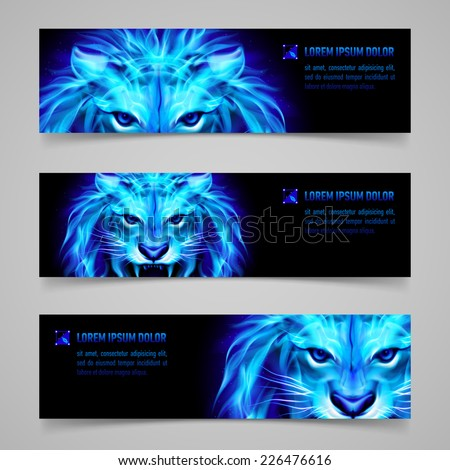 Raster version. Set of banners with mystic lion in blue flame  - stock photo