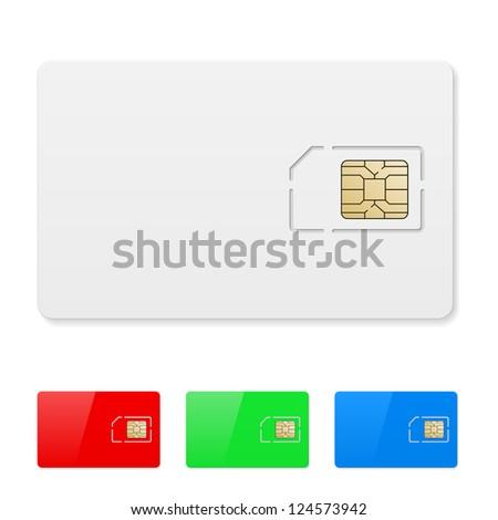 Raster version. Set of Blank SIM card. Illustration on white - stock photo