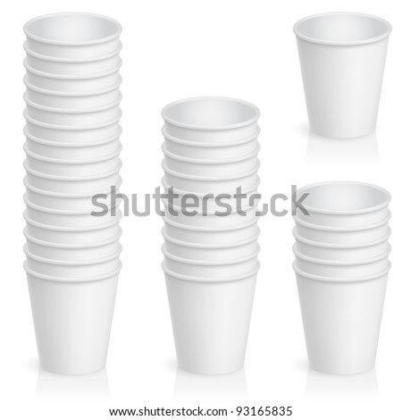 Raster version. Set of empty paper cup. Illustration of the designer on a white background - stock photo