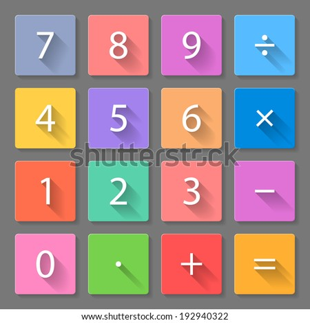 Raster version. Set of flat colorful calculator icons with long shadows for web design and apps - stock photo