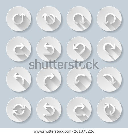 Raster version. Set of flat round icons with rounded arrows.