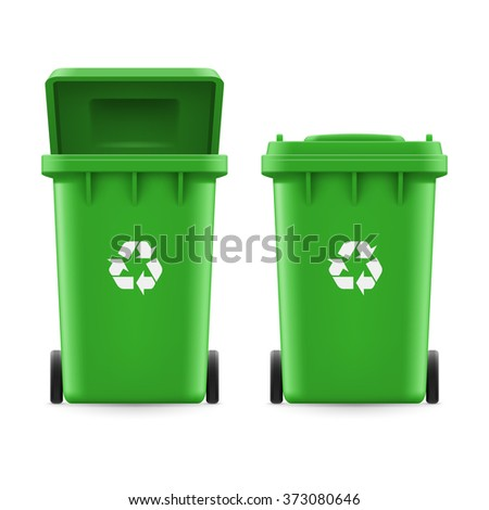 Raster version. Set of green buckets for trash with sign arrow