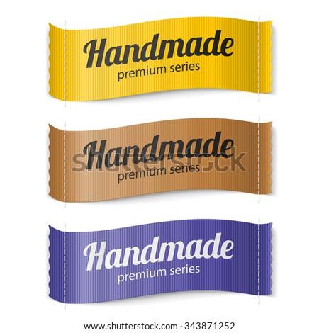 Raster version. Set of Labels Handmade series hand made yellow brown  purple - stock photo