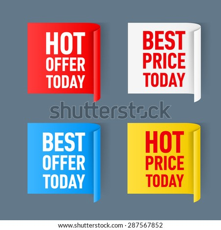 Raster version. Set of  paper color sticker isolated on a white background  - stock photo