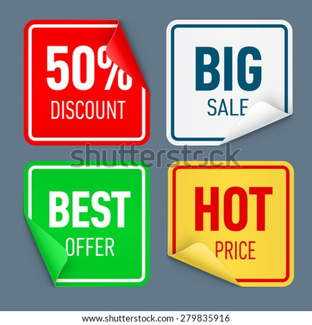 Raster version. Set of paper color sticker isolated on white background  - stock photo