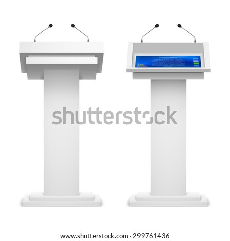 Raster version. Set of tribune for the performance  speech on  white background - stock photo