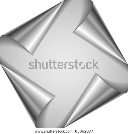 Raster version. Set silver page corners.  illustration on white background - stock photo