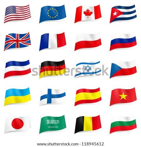 Raster version. Set World flags icons. Illustration on white - stock photo