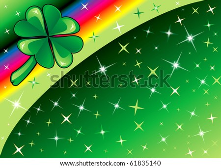 Raster version Shamrock Rainbow Background 2 with stars. There is space for text or image. - stock photo