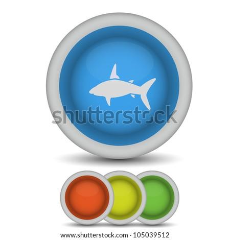 raster version. shark icon on white - stock photo