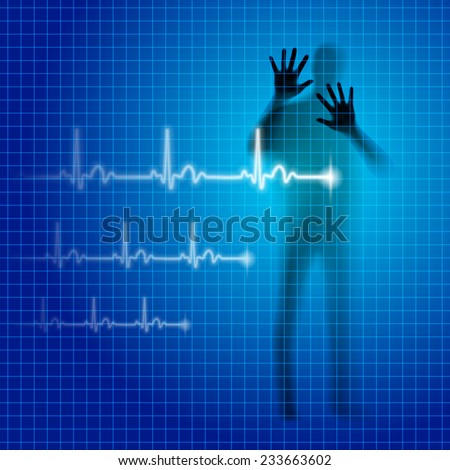 Raster version. Shining medical background with human silhouette and cardiogram line  - stock photo