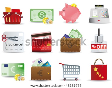 Raster version Shopping & Consumerism icons set - stock photo