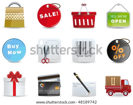 Raster version Shopping icon set - stock photo