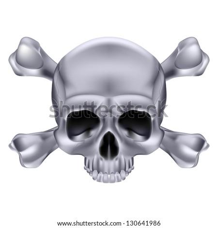 Raster version. Silver  Skull and crossbones. Illustration on white background for design - stock photo
