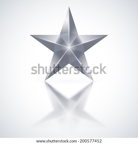 Raster version. Silver star of five points on white background. - stock photo