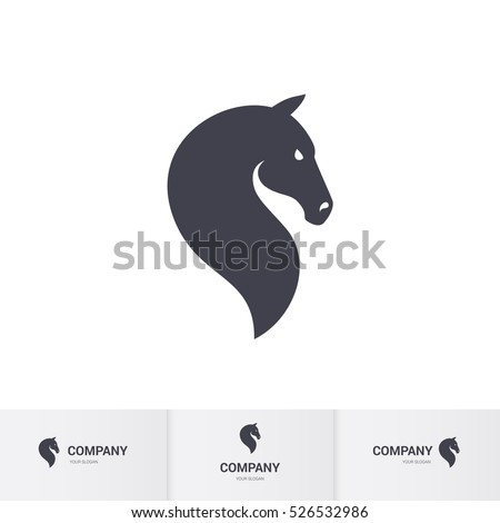 Raster version. Simple Dark Horse Head for Mascot Logo Template on White
