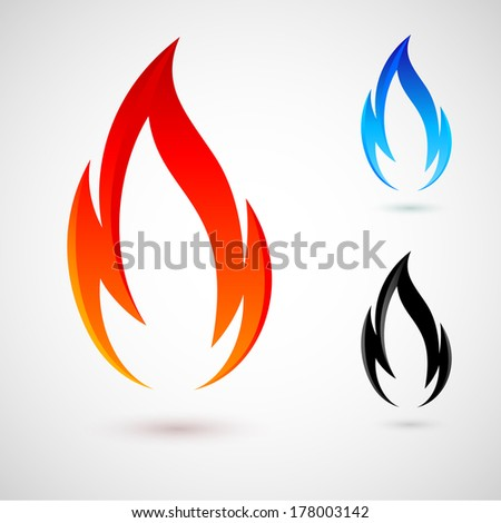 Raster version. Simple fire elements in red, blue and black colors - stock photo
