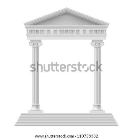 Raster version. Simple Portico an ancient temple. Colonnade. Illustration on white - stock photo
