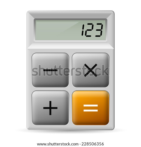Raster version. Simple white calculator icon with four buttons.  - stock photo