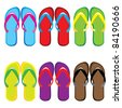 Raster version. Six pairs of colorful flip flops. Illustration on white background - stock photo