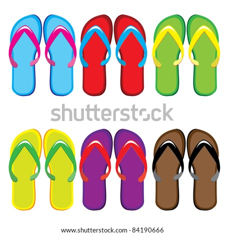 Raster version. Six pairs of colorful flip flops. Illustration on white background