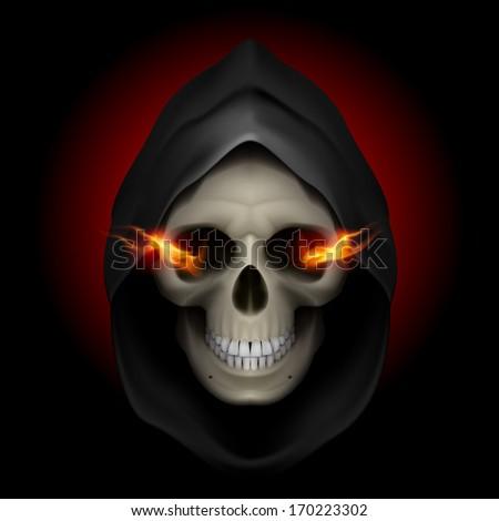 Raster version. Skull in black hood with fiery eyes as image of death. Grim Reaper. - stock photo