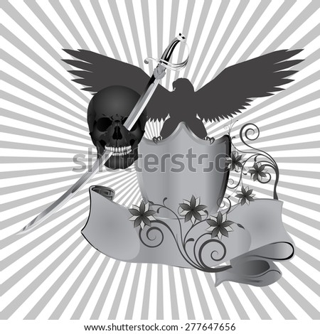 raster version skull pierced by a sword against the background of an eagle with flowers - stock photo
