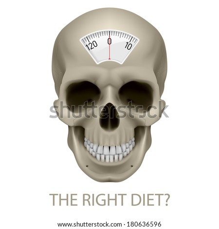 Raster version. Skull with balance scale and text beneath as symbol of unhealthy diet. - stock photo