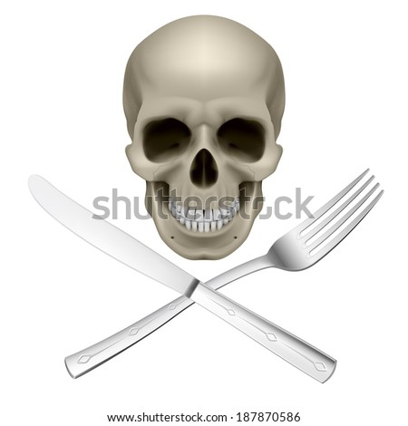 Raster version. Skull with crossed fork and knife as symbol of unhealthy dieting - stock photo