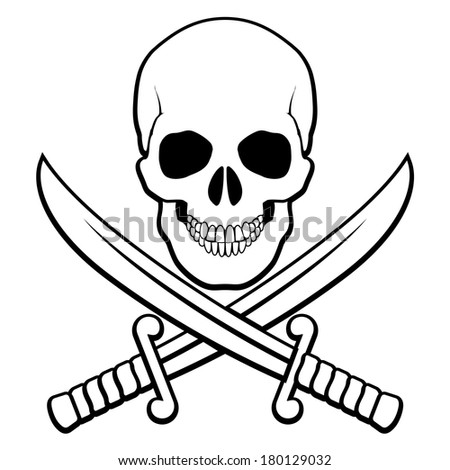 Raster version. Skull with crossed sabers beneath. Black-and white illustration of pirate symbol - stock photo