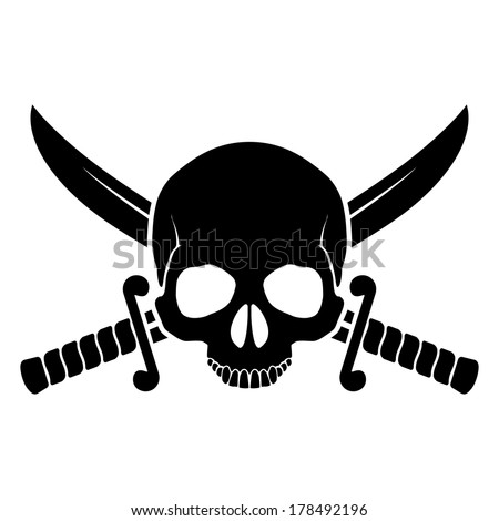 Raster version. Skull with crossed sabers. Black-and white illustration of pirate symbol - stock photo