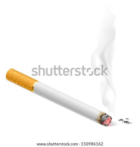 Raster version. Smoking cigarette.  Illustration on white background for design. - stock photo