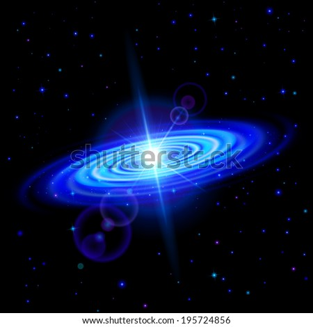Raster version. Space background. Blue galaxy with bright flare among stars in dark universe - stock photo