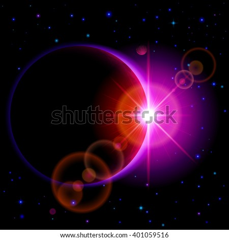 Raster version. Space background. Dark planet with purple radiance and bright flare among stars and other planets