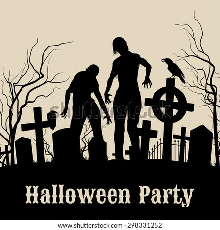 Raster version. Spooky graveyard on the Halloween Night, retro poster for Halloween Party in sepia with zombie  - stock photo