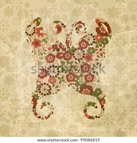 raster version, spring floral butterfly, vintage style,  old paper texture - stock photo