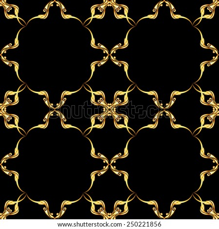 Raster version. Square gold floral pattern on black background  - stock photo