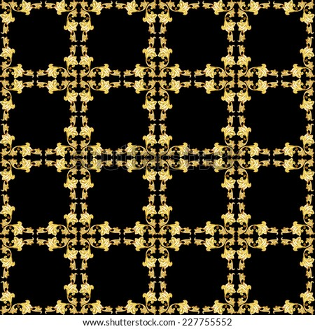 Raster version. Square seamless gold floral pattern on black background  - stock photo