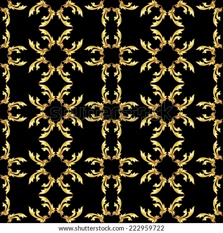 Raster version. Square seamless golden floral pattern on black background  - stock photo