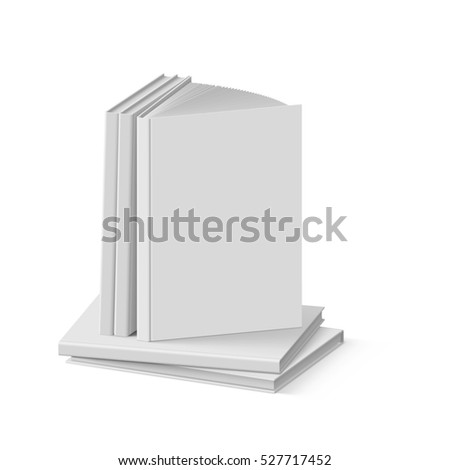 Raster version. Stack of Blank Gray Books on White Background