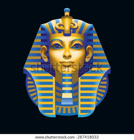 Raster version / The man's head in Egyptian style multicolored on black background - stock photo