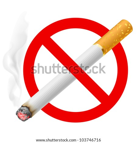 Raster version. The sign no smoking. Illustration on white background - stock photo