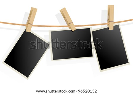 Raster version. Three Photo Frames on Rope. Illustration on white background - stock photo